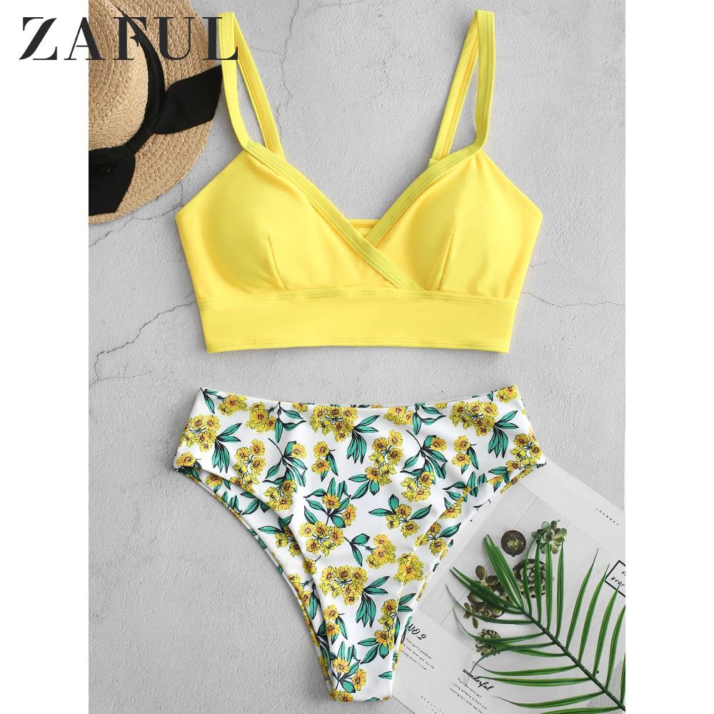 ZAFUL Floral Surplice High Cut Tankini Swimsuit Bikini Plunge 2019Wire Free Solid Bra And Floral Briefs Sexy Bikini Bathing Suit