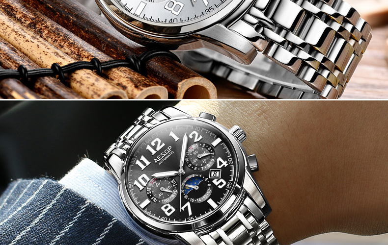 H6596aea6c4fe4370b36b622befb95cfcp AESOP Luminous Automatic Mechanical Watch Men Luxury Brand Business Waterproof Stainless Steel Male Clock Relogio Masculino 2019