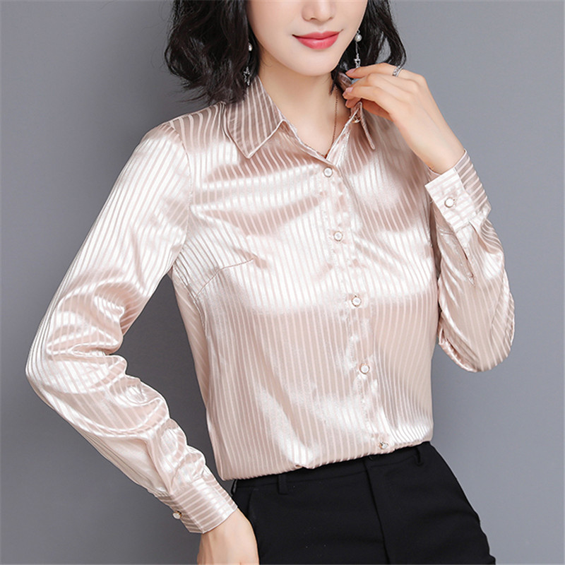 Fashion Autumn Women Silk Shirts Woman Striped Satin Shirt Plus Size Silk Blouses Womens Tops And Blouses Blusas Mujer De Moda