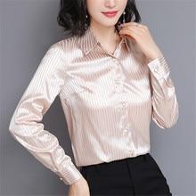 Fashion Autumn Women Silk Shirts Woman Striped Satin Shirt Plus Size Silk Blouses Womens Tops and Blouses Blusas Mujer De Moda