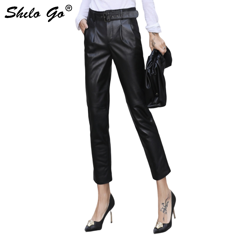 Genuine Leather Pants Office Lady Buckle Belted Sheepskin Harem Pants Women Autumn Winter Casual Concise Workwear Trousers Black
