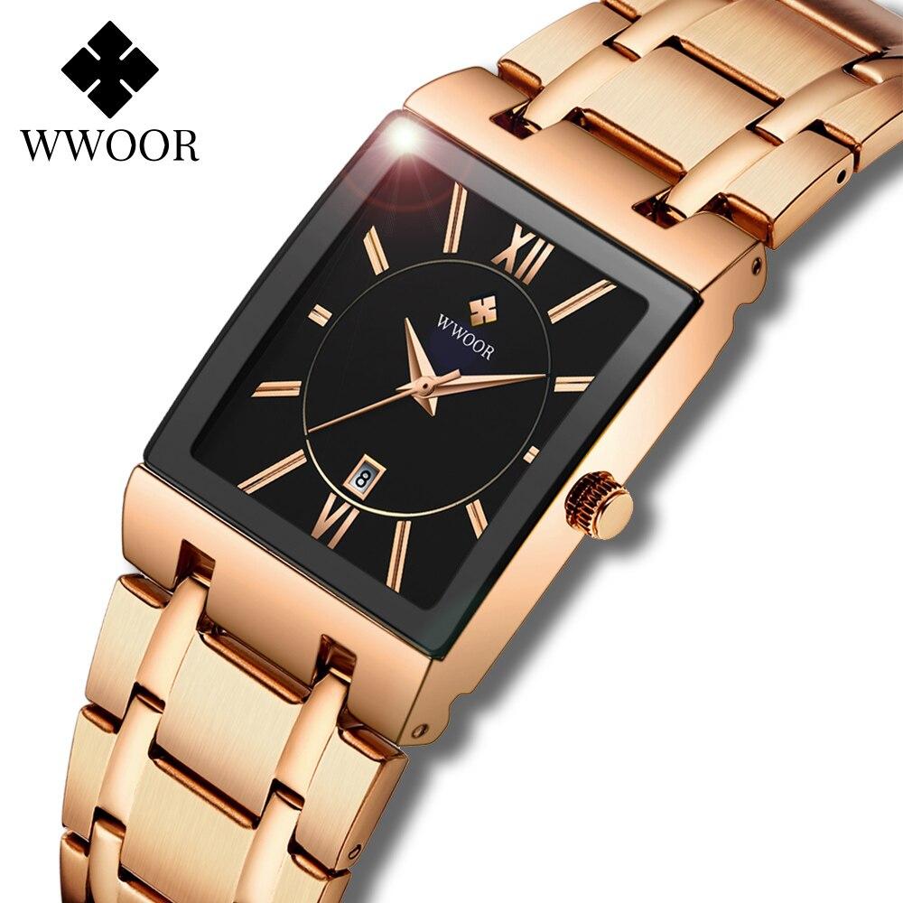 Wwoor 2021 marca superior de luxo senhoras relógios para mulheres moda quadrado feminino quartzo relógio de pulso feminino rosa ouro genebra design presentes