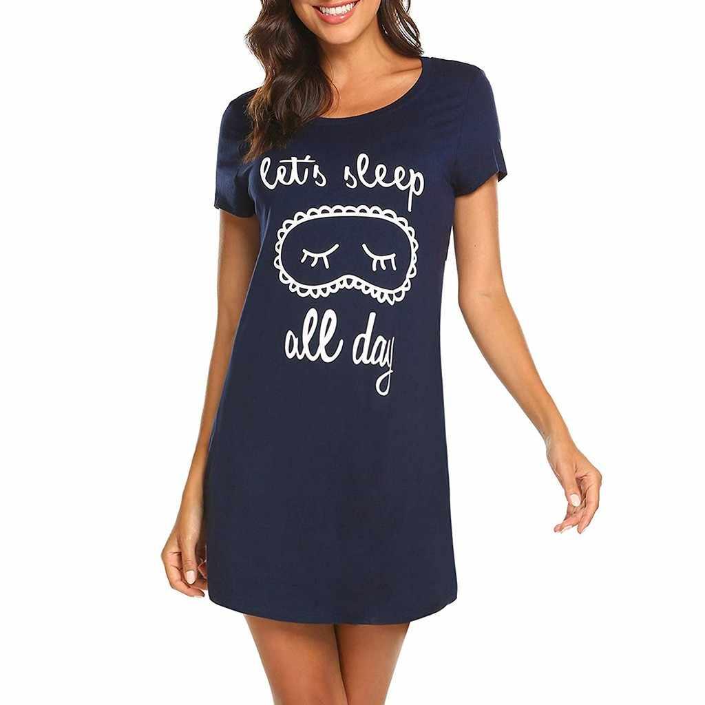 2019 mode neue heiße verkauf nachthemd frauen kurzarm einfarbig casual komfort gut aussehende druck nachthemd пижама 40 *