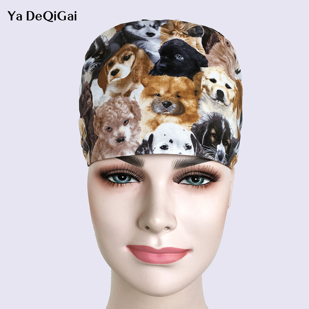 New Operating Room Hat Doctors Nurse Surgery Caps Cotton Printed Pet Hat Breathable Cotton Adjustable Men And Women Pharmacy Hat