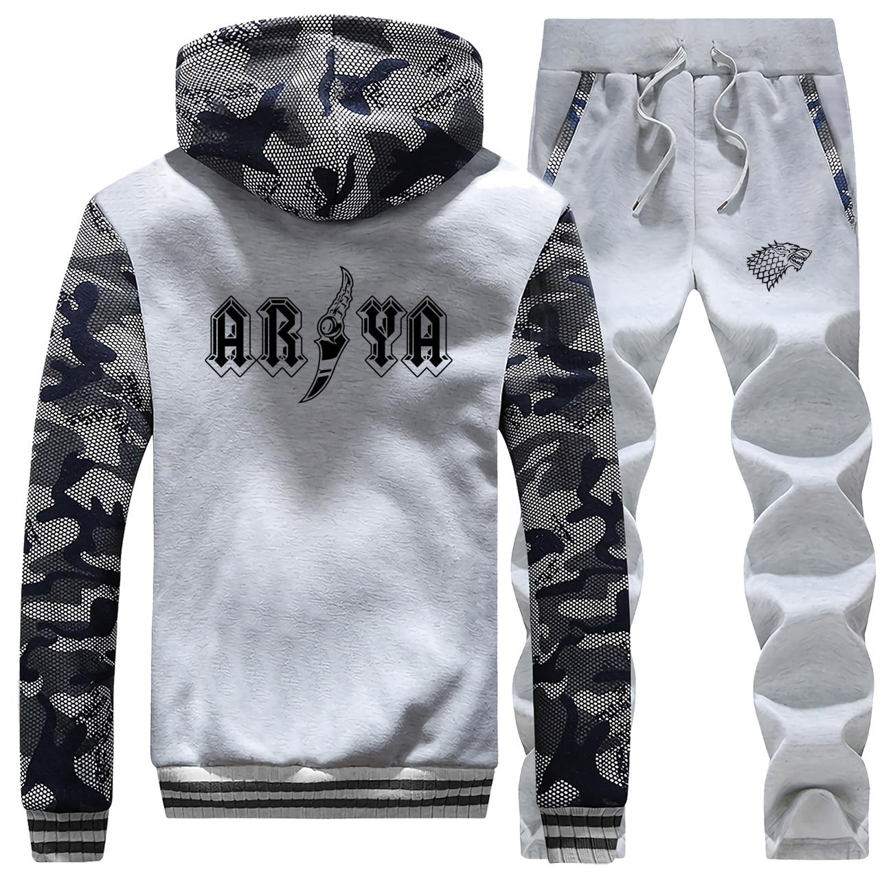Game Of Thrones Brand Man Tracksuit Fashion House Stark Sportsman Wear Arya Stark Camo Thick Set Fleece Warm Pants Sweatshirts