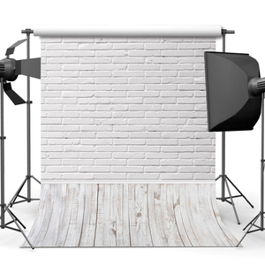 White Brick Wall Wood Board Wooden Floor Baby Portrait Backdrop Photography Background For Photo Studio Vinyl Photophone Shoot