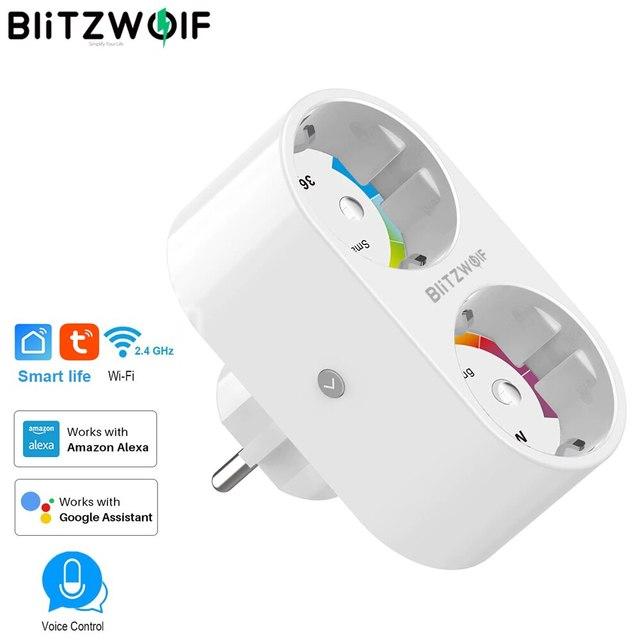 BlitzWolf 16A 2 IN 1 Dual EU Plug Smart WIFI Socket power adapter smart plug socket outlet Remote Control Timer Work with Alexa