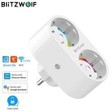 BlitzWolf 16A 2 IN 1 Dual EU Plug Smart WIFI Socket адаптер питания умная розетка розетка Wi Fi Пульт дистанционного управления Таймер настенные розетки интеллектуальные розетки Работа с Alexa Google Assistant