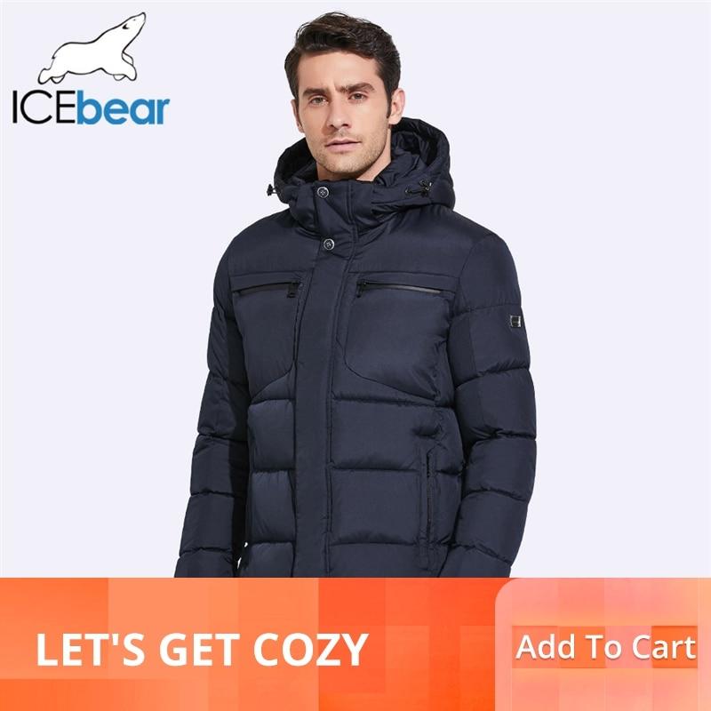 Icebear 2019 mens 겨울 자켓 가슴 절묘한 포켓 간단한 헴 실용 방수 지퍼 고품질 파카-에서파카부터 남성 의류 의  그룹 1