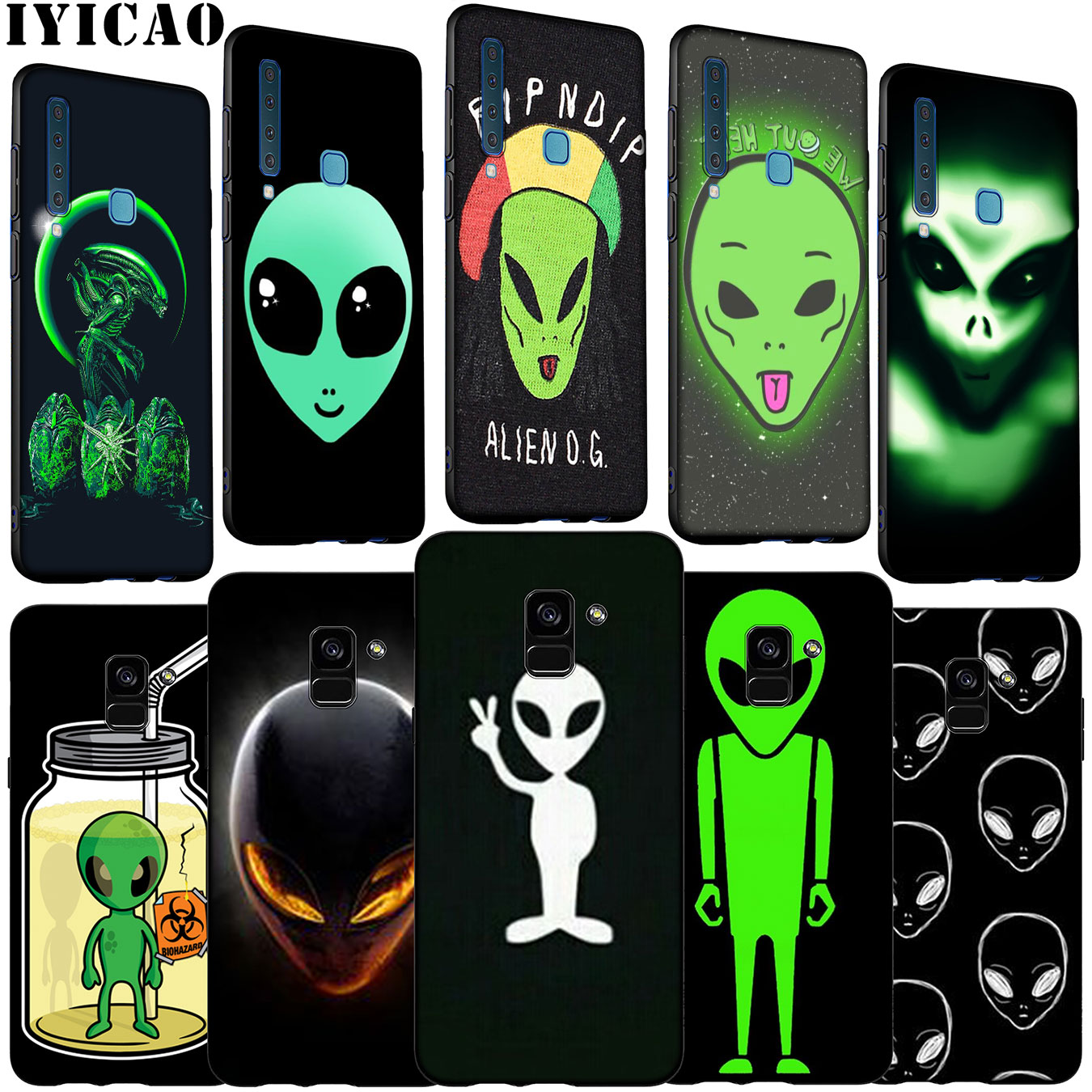 Cool Alien funny Cute Soft <font><b>Silicone</b></font> Phone <font><b>Case</b></font> for <font><b>Samsung</b></font> Galaxy A6 A7 A8 A9 2018 A3 <font><b>A5</b></font> <font><b>2016</b></font> 2017 Note 9 8 10 Plus image