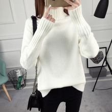 Winter Thick Warm Turtleneck Knitted Sweater Women Casual Solid Long Sleeve Soft Elasticity Pullover Sweater Female Jumper Tops rohopo semi high collar puff long sleeve pullover sweater vertival ribbed elasticity waistband knitted thick tops 2314