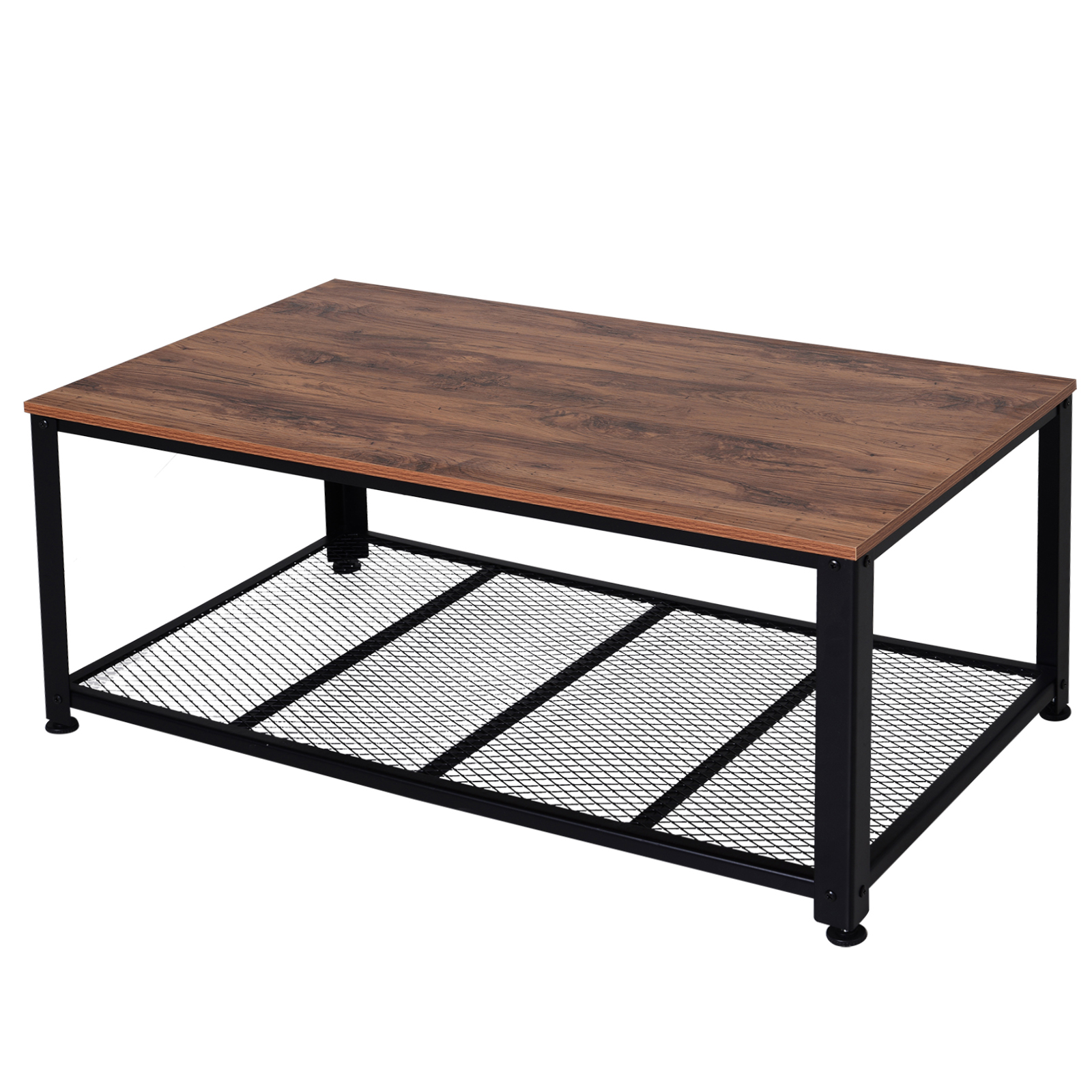 HOMCOM Industrial Style Living Room Coffee Table, Metal And Wood, With Bottom Shelf, (106x60x45.5cm)