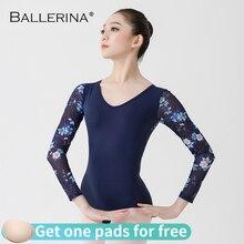Bale mayoları kadınlar için uzun kollu dans kostümü açık sırt jimnastik baskı mesh mayoları balerin 5887
