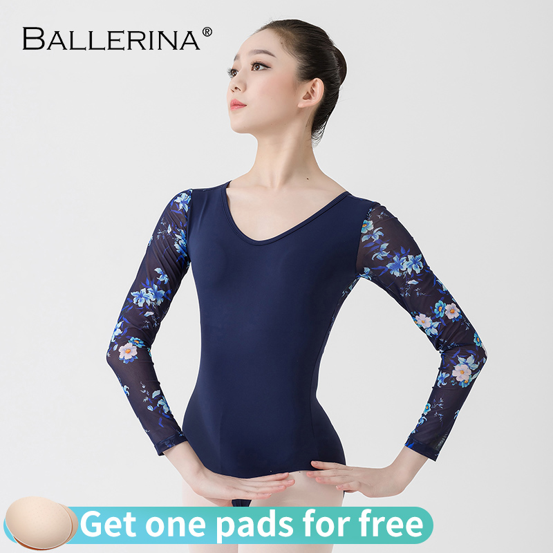 Ballet Leotards Long Sleeve For Women Dance Costume Open Back Gymnastics Printing Mesh Leotards Ballerina 5887