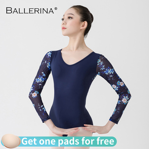 Image 1 - Ballet Leotards long sleeve For Women Dance Costume open back gymnastics printing mesh Leotards Ballerina 5887