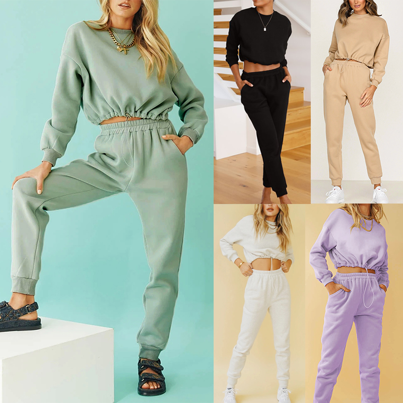 Casual Womens Sweatsuit Set Long Sleeve Loose Fit Cropped Hoodie And High Waist Joggers Sports Set