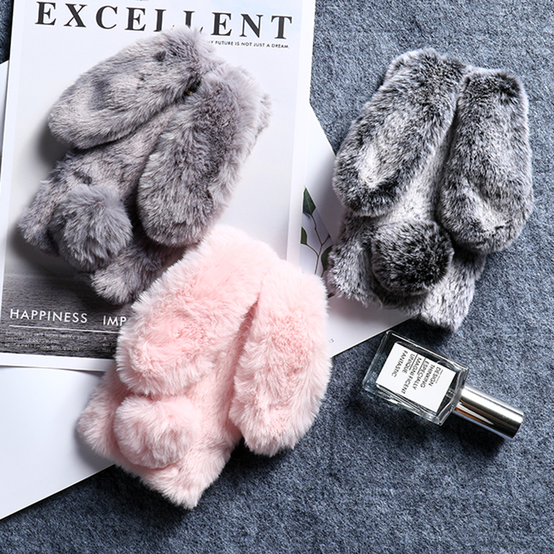 Rabbit Fur Silicon <font><b>Case</b></font> For <font><b>Huawei</b></font> Mate 30 <font><b>Pro</b></font> <font><b>20</b></font> Lite 10 Nova 3 3i 3e 4 4e 5 5i 5T 5Z Y3 Y5 2017 <font><b>Rhinestone</b></font> Bling Warm Cover image
