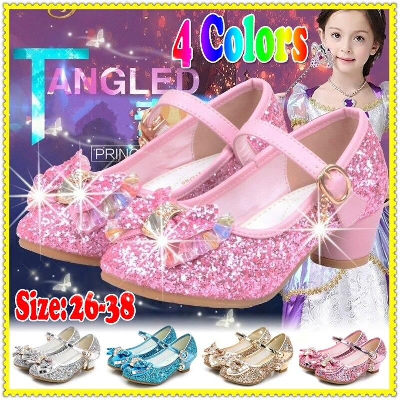 Princesse enfants chaussures en cuir pour filles fleur paillettes décontracté enfants à talons hauts filles chaussures papillon noeud bleu rose argent