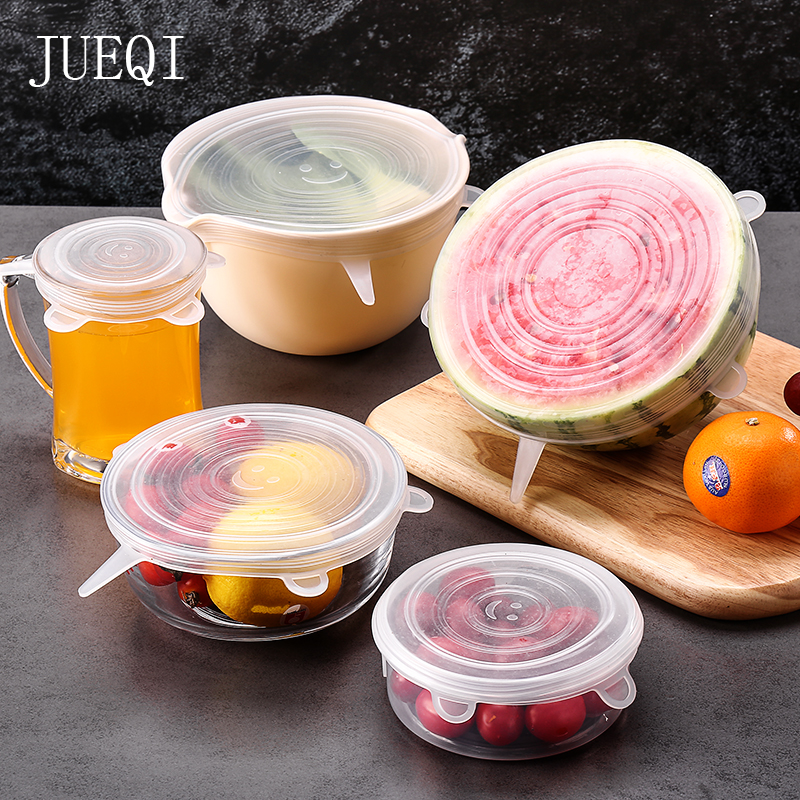 6 Pcs Reusable Food Packaging Cover Silicon Food Fresh-Keeping Sealing Cap Vacuum Stretch Cap Packaging Kitchen Silicone Cover