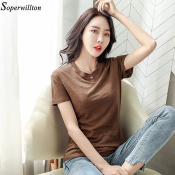100% Cotton T Shirt Women Long Sleeve Tshirt Female 2020 Spring Autumn Ladies Tops Tee Shirt Femme Plus Size 3XL White Black G79 - short sleeve coffee, XL
