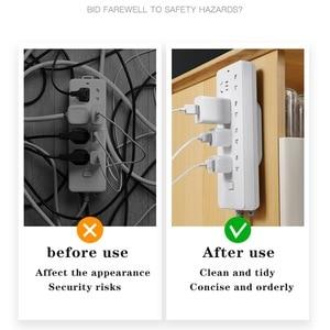 Image 3 - Rij Plug Houder Muur Gemonteerde Draad Naadloze Plug Rij Lijn Boord Muursticker Socket Gesp Router Opslag Kabel Manager