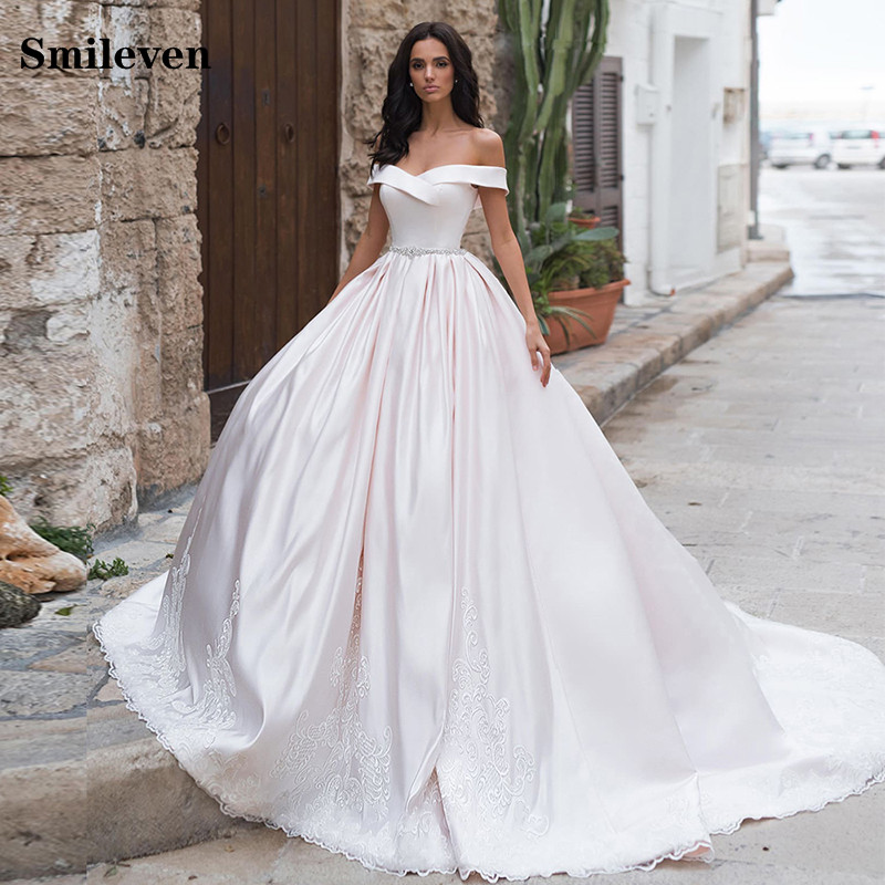 Smileven A Line Satin Lace Wedding Dress A Line Off The Shoulder Princess Bride Dress With Crystal  Robe De Mariee