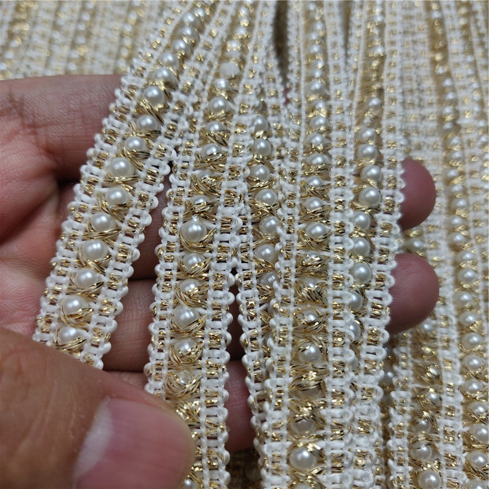 5M Roll DIY Applique Sheer Mesh Faux Pearl Beaded Lace Trim Ribbon Wedding Dress Craft Decorative Gold