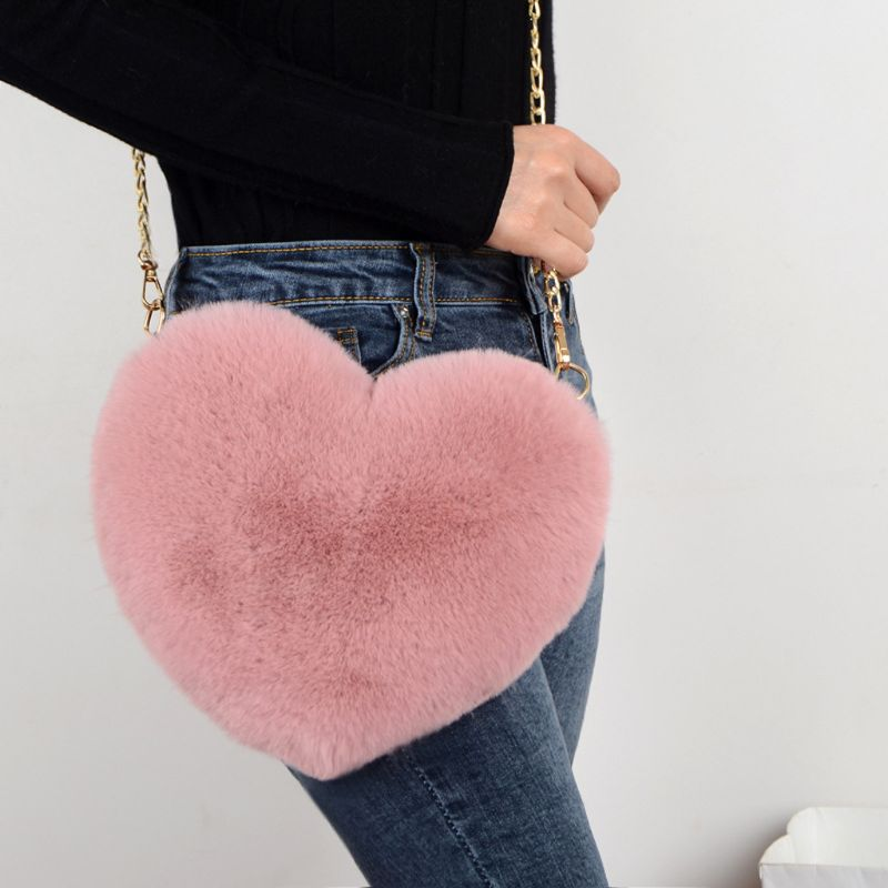 Fashion Women's Heart Shaped Faux Fur Crossbody Wallet Purse Chain Shoulder Bag Lady Handbag