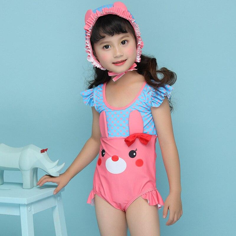 2018 New Style Dress One-Piece Send Swimming Cap Sweet Cute Briefs Hipster Girls KID'S Swimwear