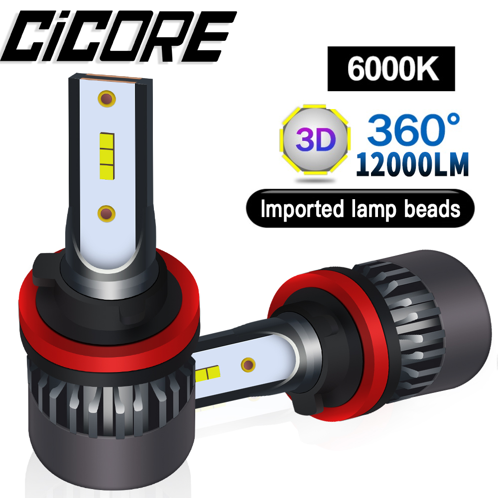 Cicore Car Headlight Bulbs LED H11 H7 H4 HB3 HB4 55W 12000LM 9005 9006 H3 H8 HIR2 Kit Fog Light 9012 Lamp 6000K Canbus Drive 12V