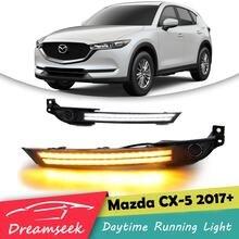 Luz LED de circulación diurna DRL para Mazda CX-5 CX5 2017 2018 2019, luz antiniebla, bisel con lámpara de señal de giro
