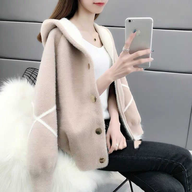 2019 Women's Jacket With Cap Students Loose Autumn And Winter New Water Velvet Knit Cardigan Thick Warm