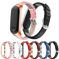 Nuevo reloj correa para Xiaomi Mi banda 3 correa de cuero genuino reemplazo rápido pulsera para Xiaomi Mi banda 4 accesorios de la pulsera