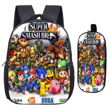 Super Mario Smash Bros plecak przedszkole szkoła torby drukowanie wzór torby szkolne piękny plecak z ładny ołówek Box tanie tanio NYLON Miękki uchwyt Tłoczenie Łukowaty pasek na ramię 2Pcs Sets Poliester Unisex Miękka printing Na co dzień NONE
