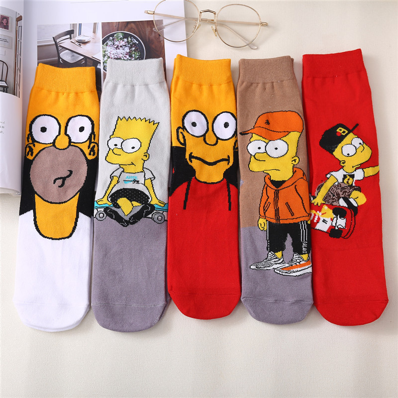 New Unisex Cartoon Simpson SpongeBob Patrick Star Harajuku  Couple Funny Happy Socks SquarePants Men Socks Women Socks