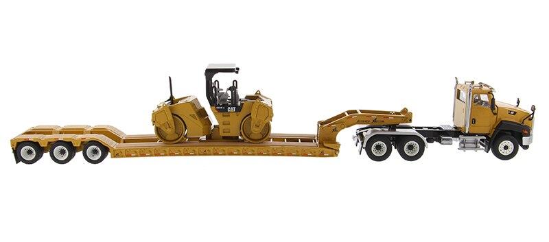 DM 85601 1:50 Cat CT660 дневная кабина с XL 120 низкопрофильный HDG низкорамный прицеп и CB-534D для кошек XW Вибрационный асфальтовый каток