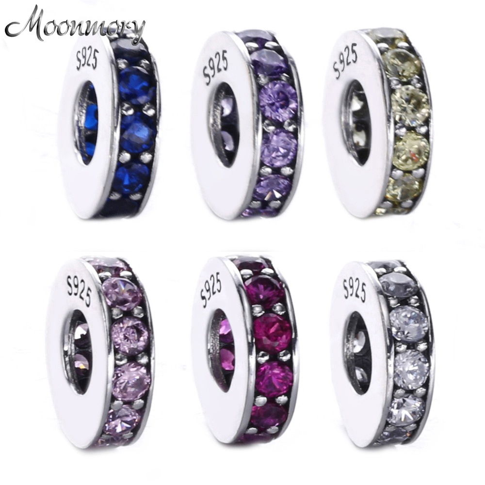 Moonmory 6 Colors 925 Sterling Silver Spacer Eternity Royal Blue Crystal Beads Fits For Brand Bracelets DIY Jewelry Marking