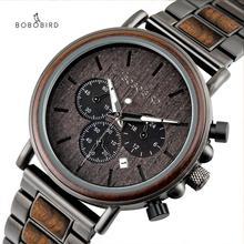 BOBO BIRDนาฬิกาผู้ชายrelojes hombreไม้นาฬิกาข้อมือชายวันที่erkek Kol saatiในของขวัญกล่องUSAคลังสินค้า