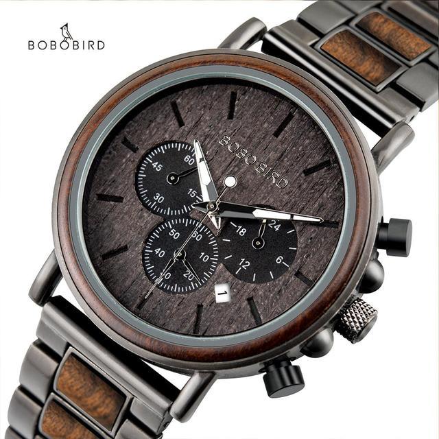 BOBO VOGEL Männer Uhren Stoppuhr uhren hombre Holz Armbanduhren Männlichen Zeigen Datum erkek kol saati in Geschenke Box USA lager