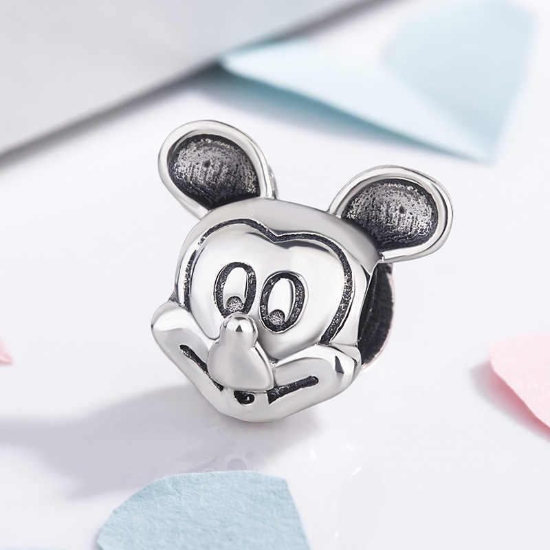 Originele 925 Sterling Silver Charm Leuke Cartoon Muis Portret Mickey Kralen Fit Vrouwen Pandora Armband Diy Sieraden
