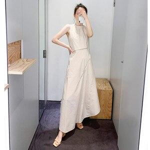 Nowe mody kobiet nieregularne Midi sukienka zamek dekoracji długość regulowana pani O-neck bez rękawów dwa nosić długie sukienki w stylu Casual