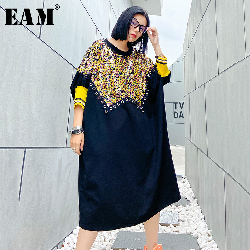 [EAM] Women Sequins Split Big Size Dress New Round Neck Three-quarter Sleeve Loose Fit Fashion Tide Spring Summer 2020 1U372