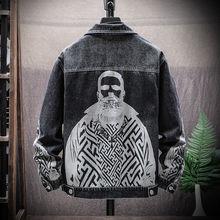 Мужские джинсовые куртки в стиле хип-хоп, уличная одежда, джинсовые пальто высокого качества с принтом, весенне-осенняя мужская верхняя одежда, повседневные джинсы и пальто