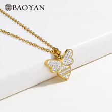 Baoyan Stainless Steel Bee Necklace Elegant CZ Crystal Necklace Women Wholesale Cute Gold/Silver Plating Insect Pendant Necklace(China)