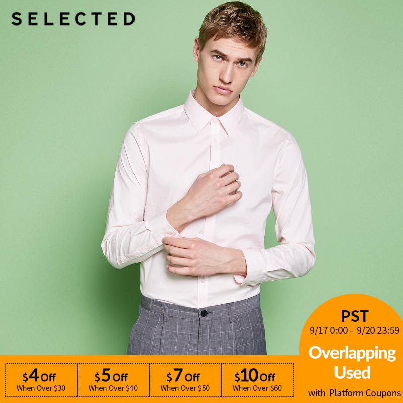 SELECTED New Men's Cotton Micro-elastic Tip Collar Fit Business Long-sleeved Shirt T 418205516