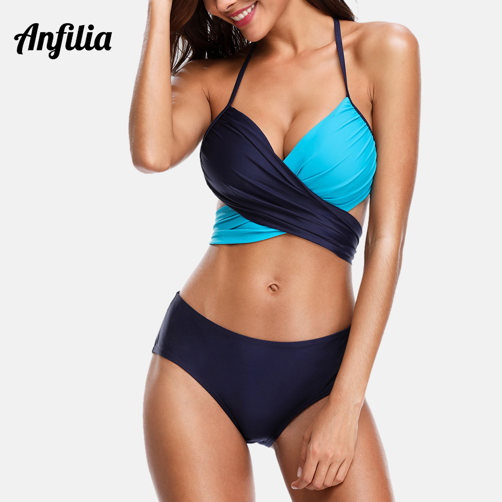 Anfilia Women Bikini Set Swimwear Colorblock Swimsuit Cross Bandage Sexy Bathing Suit Beachwear