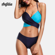 Anfilia Women Bikini Set Swimwear Colorblock Swimsuit Cross Bandage Sexy Bathing Suit Beachwear