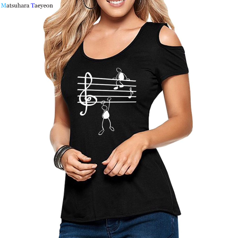 Fashion Women's T-shirt Musical note cotton t shirts summer Hollow Out Short Sleeve woman tees top 2020 funny print tshirt