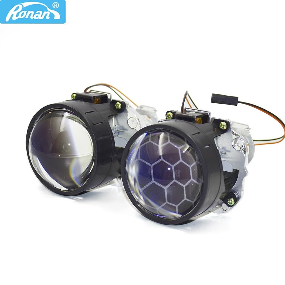 RONAN 2.5 ''Ver8. 1 revêtement bleu Bi xenon HID MINI lentille de projecteur H1 phare de voiture H4 H7 base adaptateur anneau voiture style rénovation