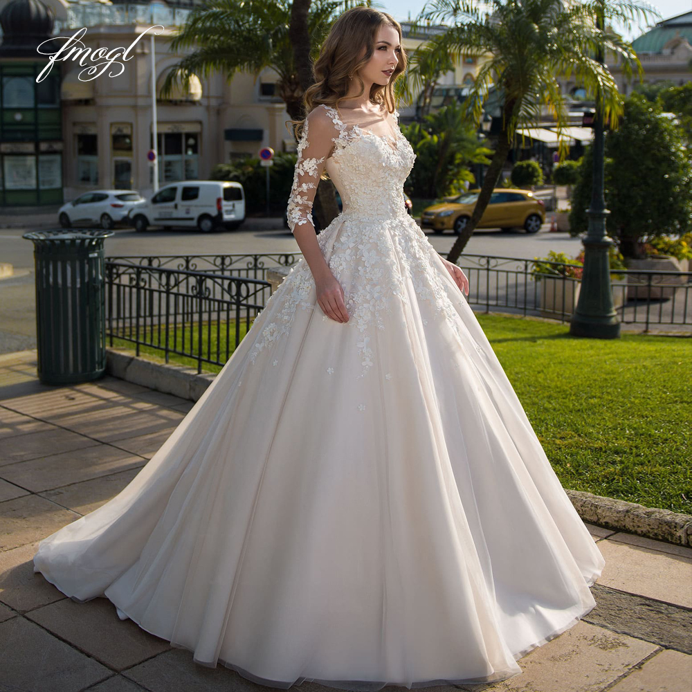 Fmogl Elegant Half Sleeve Flowers Lace A Line Wedding Dresses 2019 Luxury Appliques Beaded Court Train Vintage Bridal Gowns